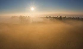 Světlem pozlacená mlha
